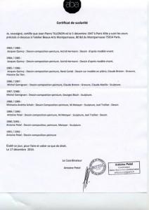 Attestation-certificat Beaux Arts Montparnasse