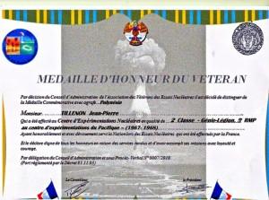 Diplôme de Légion Pacifique vétéran