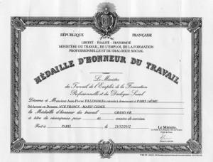 Médaille Grand Or Travail